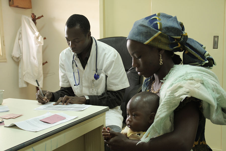 Mother and child in an African clinic.