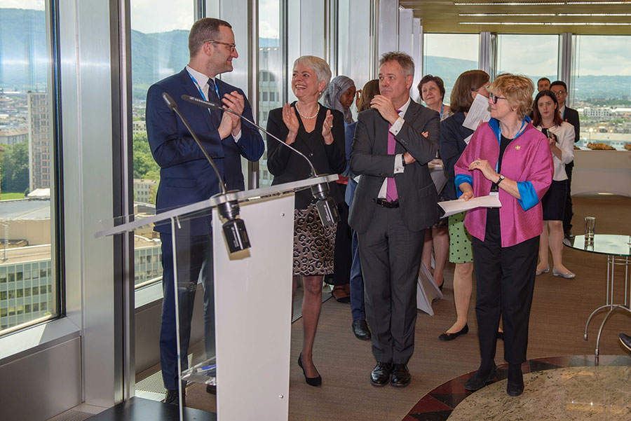Jens Spahn (German Federal Minister of Health), Cornelia Quennet-Thielen (State Secretary at the Federal Ministry of Education and Research), Dr. Jeremy Farrar (Director Wellcome Trust) und Dame Sally Davies (Chief Medical Officer for England)